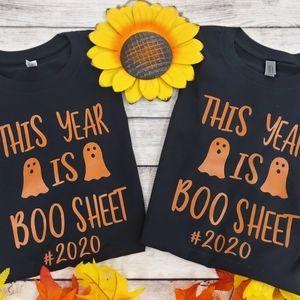 Boo Sheet Black T shirt Halloween 2020
